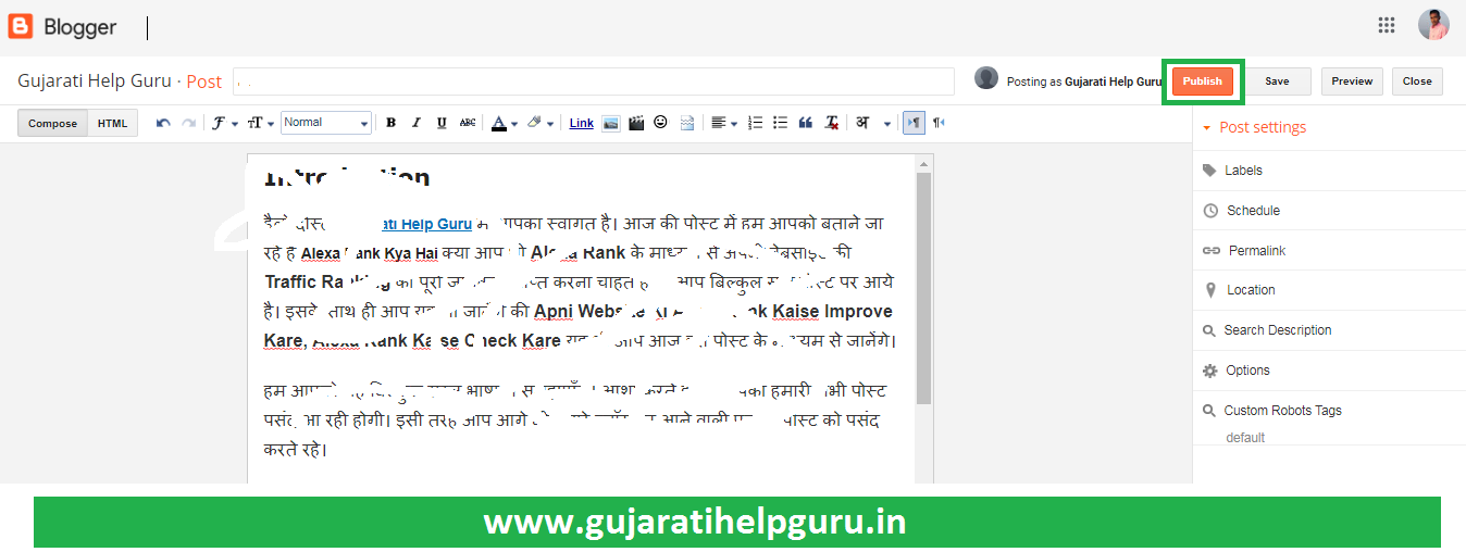 Blogger Blog Pe New Post Kaise Publish Kare 2020 How to Create a New Post in Blogger? 2