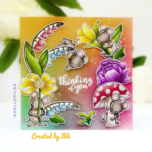 Thinking of You Card by July Guest Designer Ildi Imrefalvi | Garden Mice, Little Lilies and Peony Blooms Stamp Sets by Newton's Nook Designs #newtonsnook #handmade