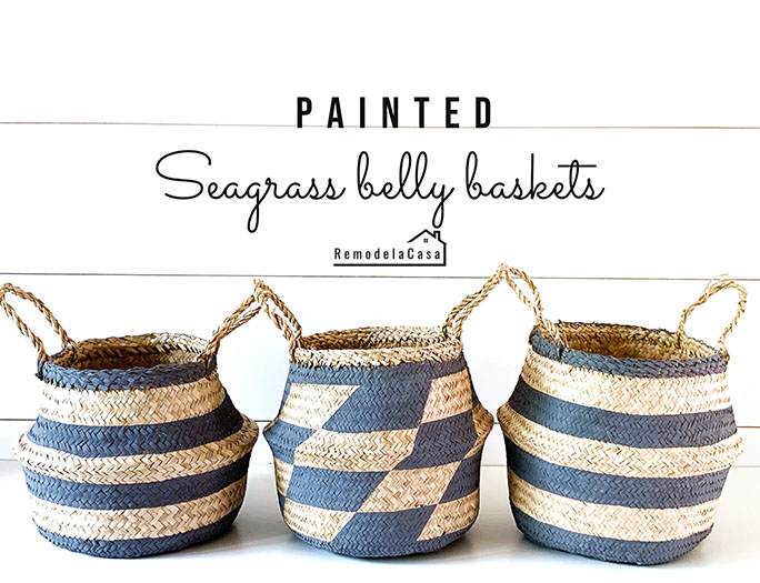 painted stripes on baskets