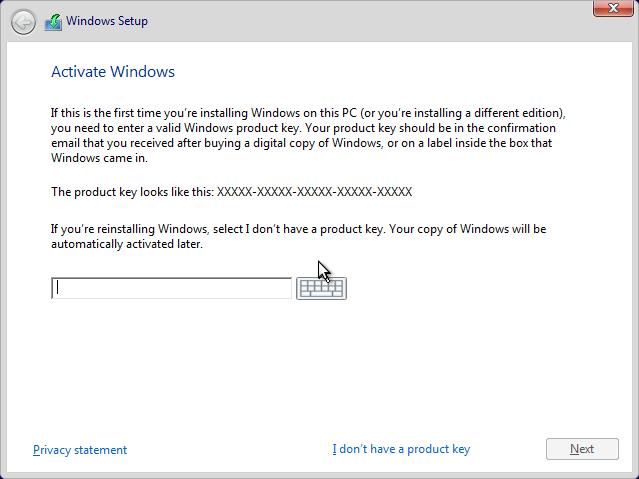 Masukan Produk Key Windows 10