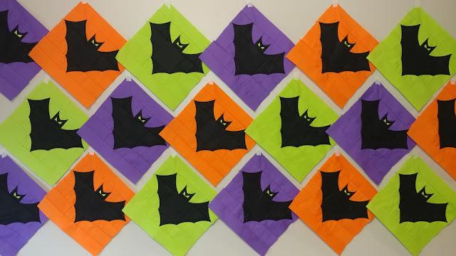 Bat quilt block colony