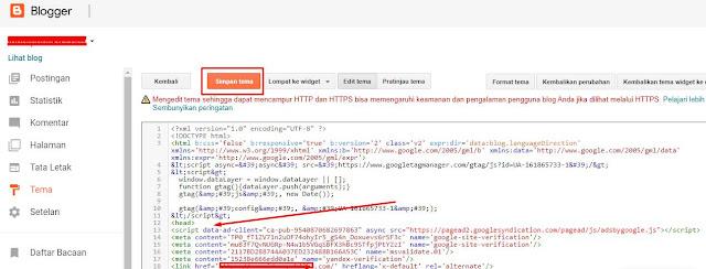 tempelkan kode google adsense ke HTML blog
