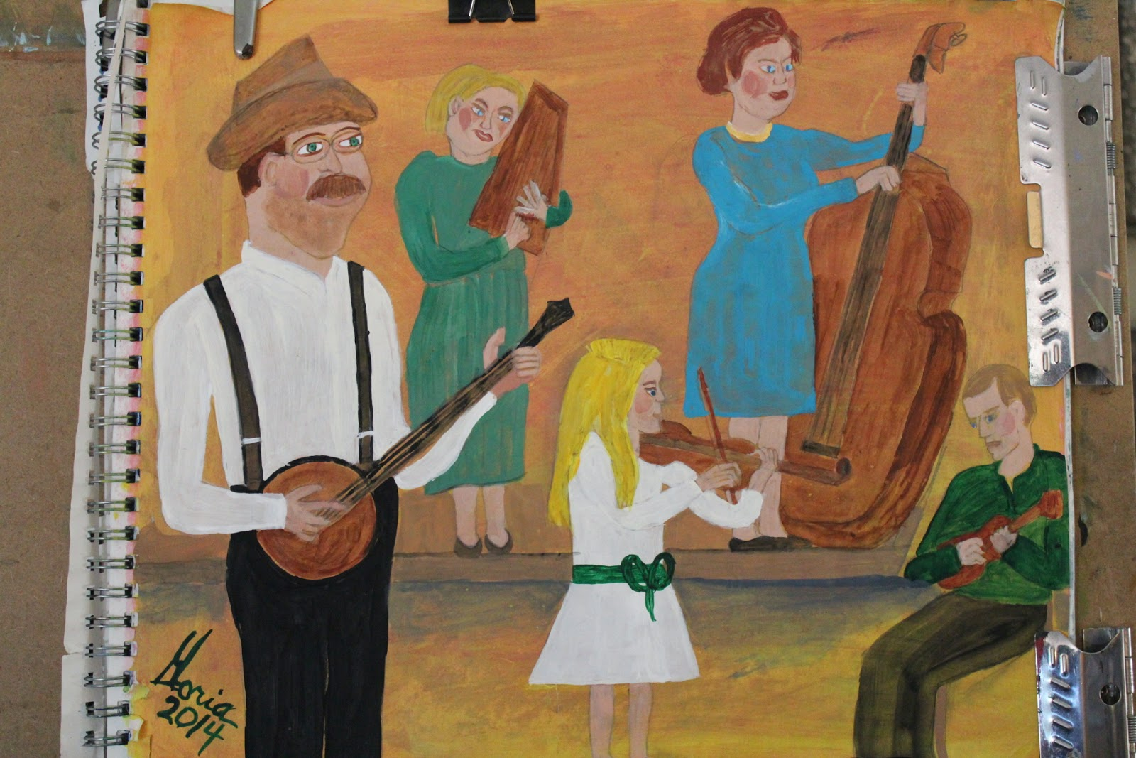 Southern Baptist Church band sketch by Gloria Poole of Missouri-11-Apr-2014; acrylics