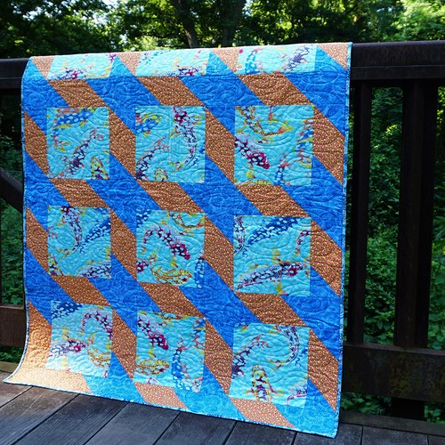 Ripples Teal Quilt Free Pattern Designed by Heidi Pridemore, Tech edited by Linda Turner Griepentrog for FreeSpirit