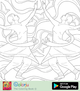 Free two Indian hindi girls Kathak dancing coloring page