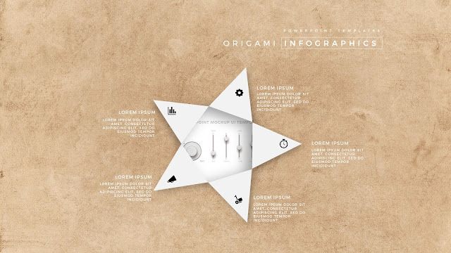 5 Icon options of Abstract Origami Infographics for PowerPoint Templates with placeholder  in Picture Background