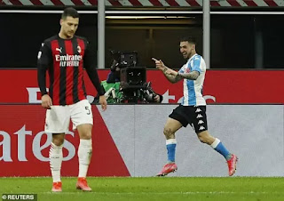 AC Milan slip nine points behind Inter at Napoli defeat.