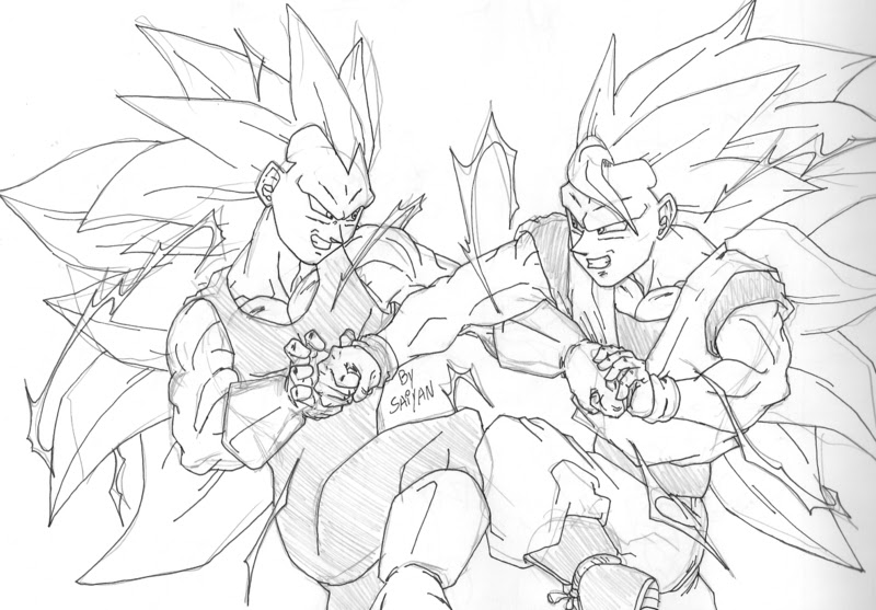 Goku Fase 5 Para Colorear: Dragon Ball: El Retorno De Los Enemigos: Goku Ssj3 Vs