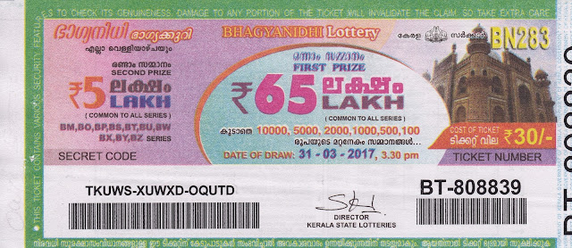 09.10.2015 | BAGYANIDHI (BN-207) Lottery Result