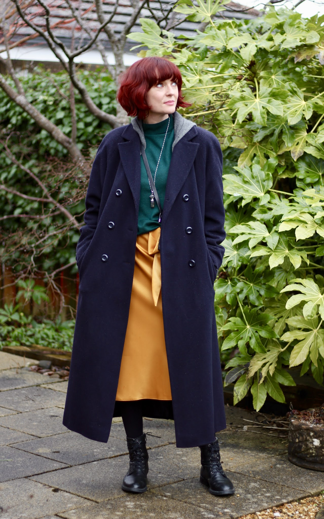 Yellow Satin Skirt, Green Jumper, Navy Coat * Winter OUTFIT over 40