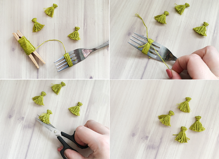 how to make a mini tassles using a fork