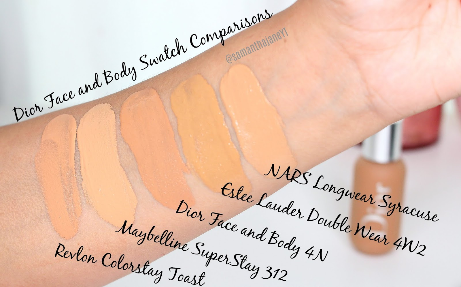 845102dd Samantha Jane: Dior Face and Body Foundation Shades/Swatch Comparisons