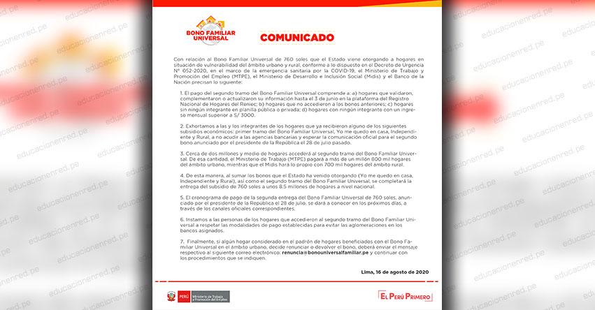 BONO FAMILIAR UNIVERSAL: Comunicado Oficial con relación al Beneficio Económico de S/ 760 (PRECISIONES) www.bonofamiliaruniversal.pe