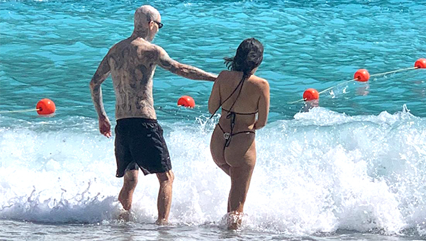 Kourtney Kardashian is on vacation in Europe with boyfriend Travis Barker, who has overcome his fear of flying after surviving a 2008 plane crash