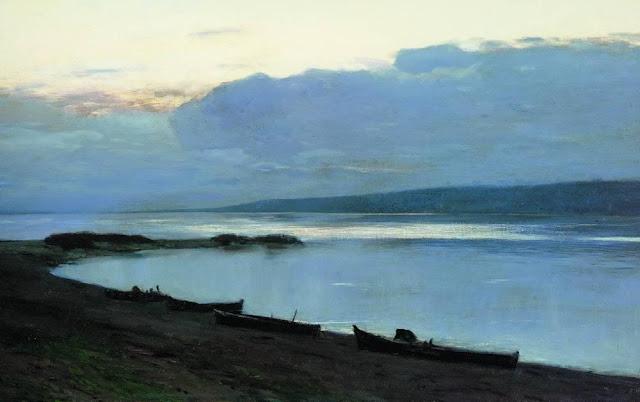 Исаак Ильич Левитан - Вечер на Волге (2). 1888