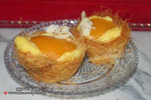 طريقة عمل الكنافة بالفاكهة والكاسترد