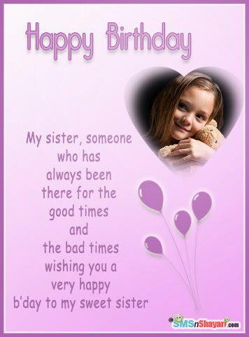 Birthday Greetings Card For Sister Wishes Your
