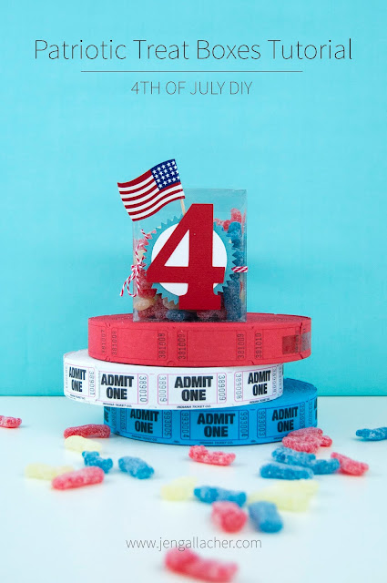Clear Patriotic Treat Boxes tutorial by Jen Gallacher for www.jengallacher.com #patriotic #4thofjuly #treatbox #jengallacher #silhouettecameo