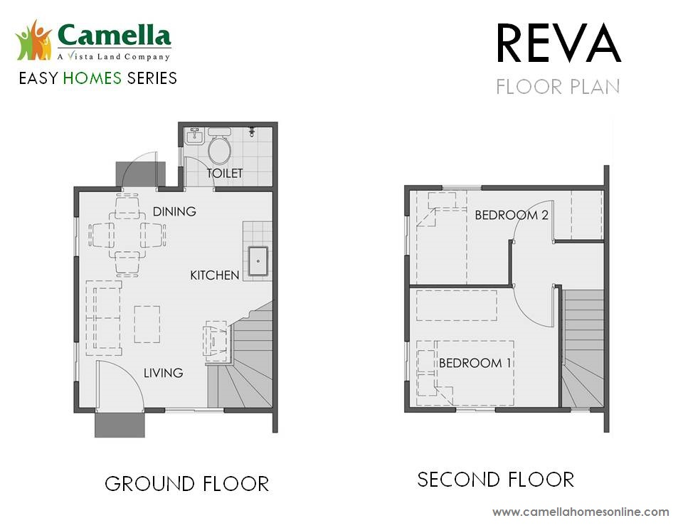 Floor Plan of Reva - Camella Vita Tierra Nevada | House and Lot for Sale General Trias Cavite