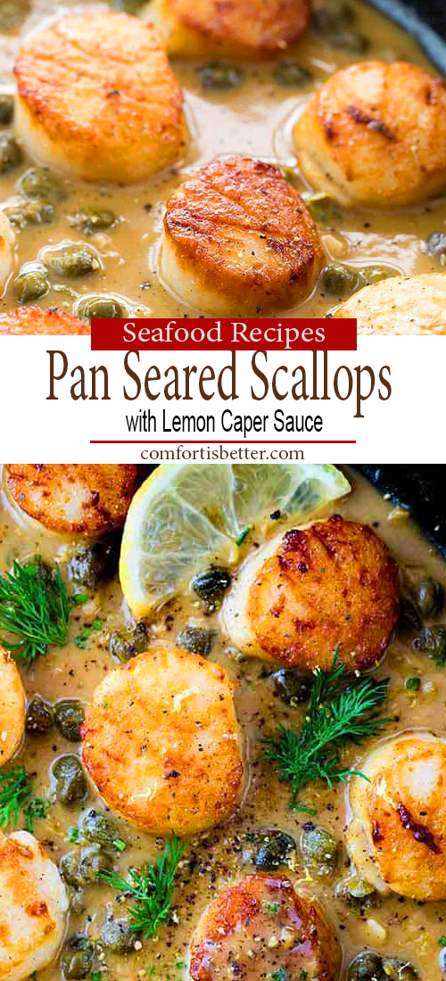 Delicious Pan Seared Scallops with Lemon Caper Sauce