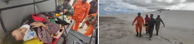 Corpo de Bombeiros e CTA resgatam passageiros de veículo que caiu em lagoa nos Lençóis Maranhenses