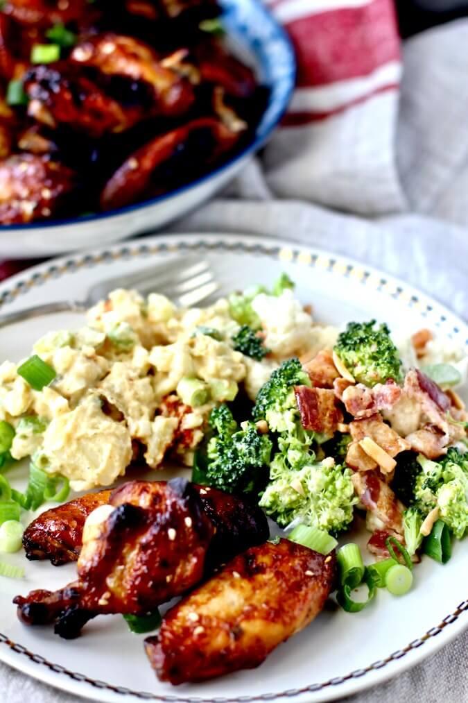 Jubilee broccoli salad, chicken and potato salad