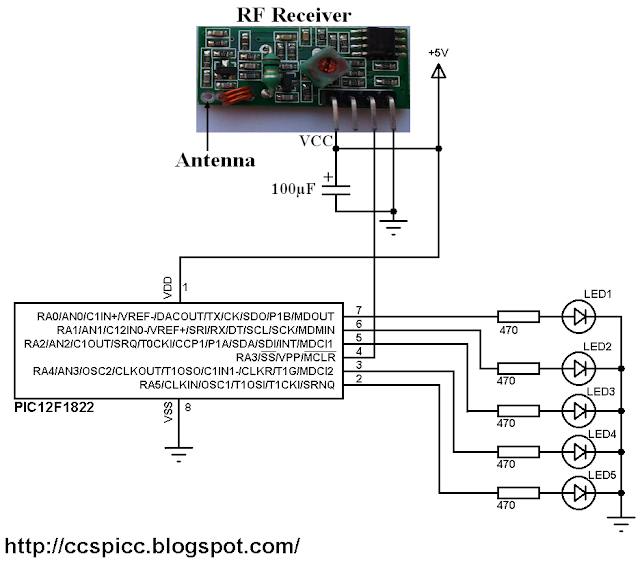 433MHz radio frequency RF receiver circuit using PIC microcontroller