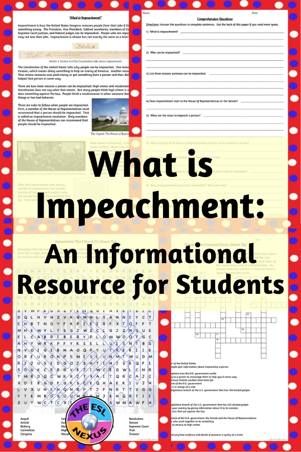 The reading passage & other activities will help ELLs & other students learn all about impeachment | The ESL Nexus
