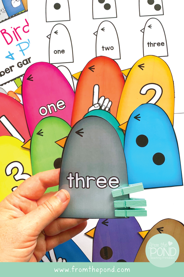 Learning Numbers to 3 Math Bird Clip It Cards