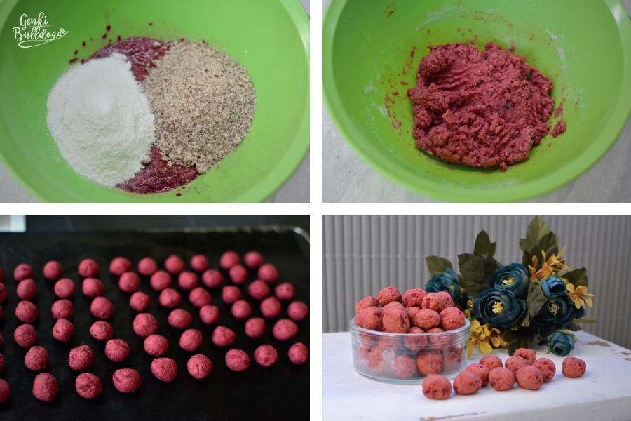 Hundekeks Rezept: Rote Beete-Haselnuss Kugeln für Hunde backen