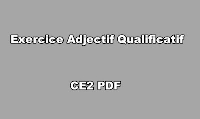 Exercice Adjectif Qualificatif CE2 PDF