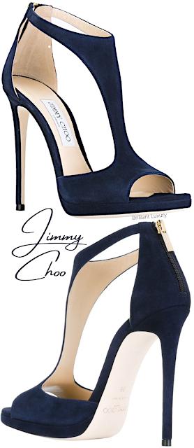 Navy blue Jimmy Choo Lana t-strap sandal #brilliantluxury