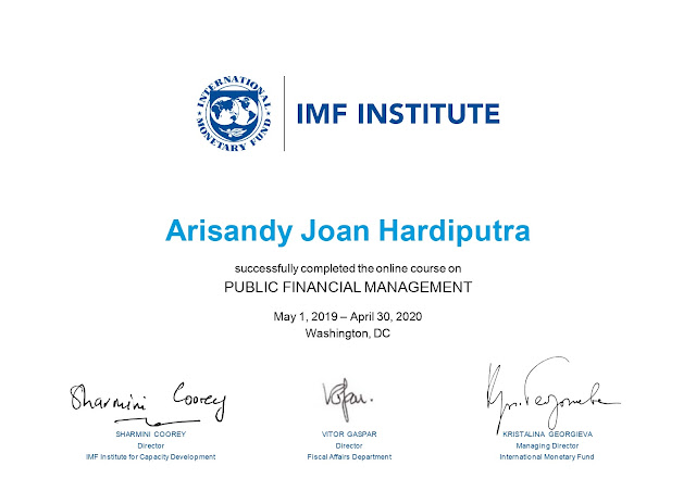 Sertifikat Online Course Public Financial Management (PFM) International Monetary Fund (IMF) Arisandy Joan Hardiputra