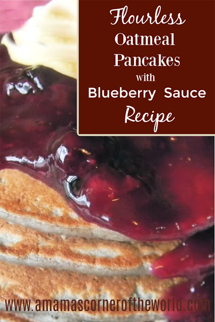 pinnable image for a flourless oatmeal pancake with blueberry sauce