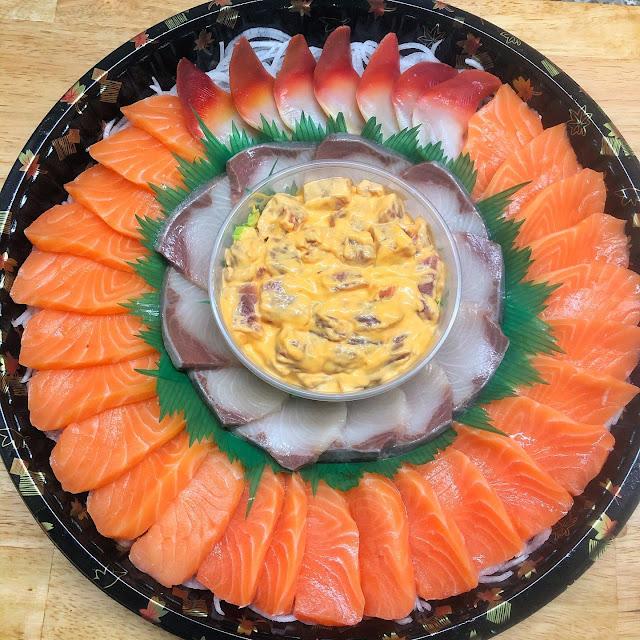 Salmon Sashimi Cake and Tuna Sashimi Cake