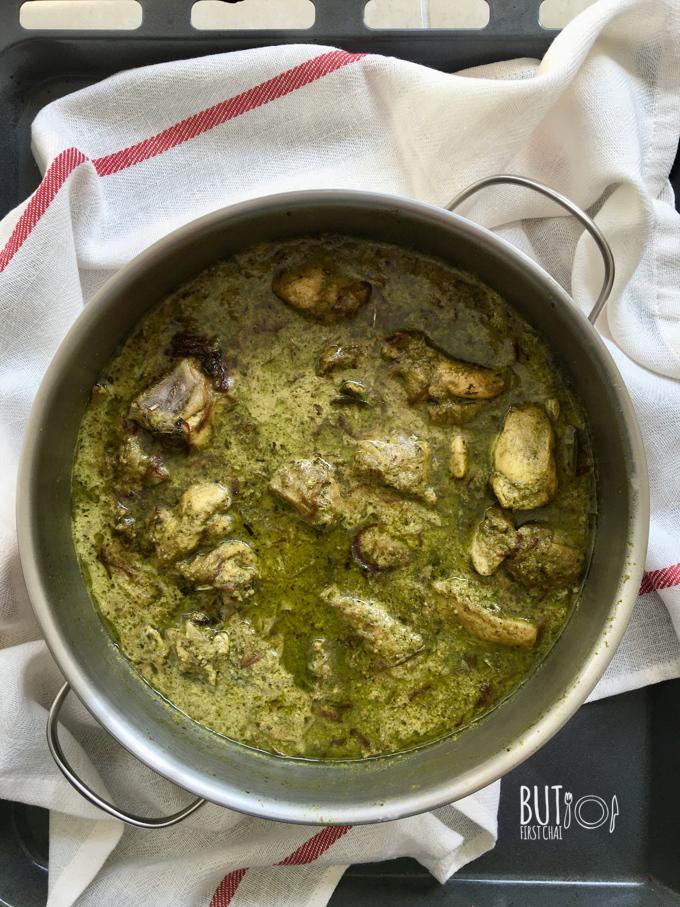 Hariyali Murgh Korma | Chicken in Mint Coriander Yoghurt Sauce