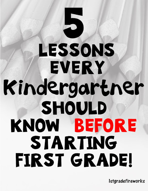What should kinder students know before entering first grade?