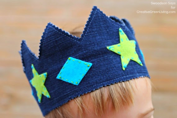 Learn how to make a DIY crown from recycled fabric like jeans