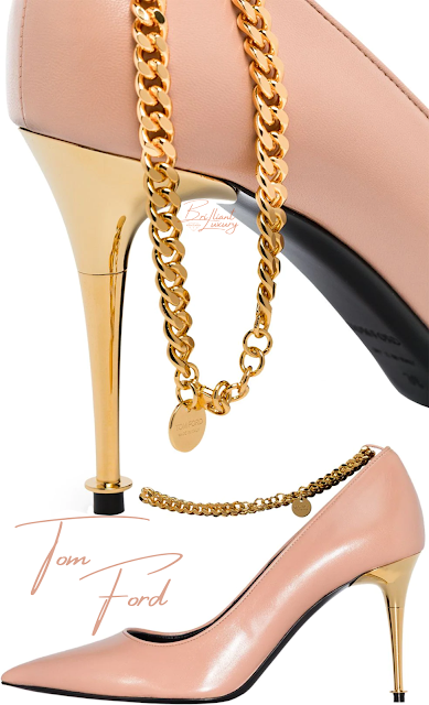 Tom Ford chain-trimmed leather pumps #brilliantluxury