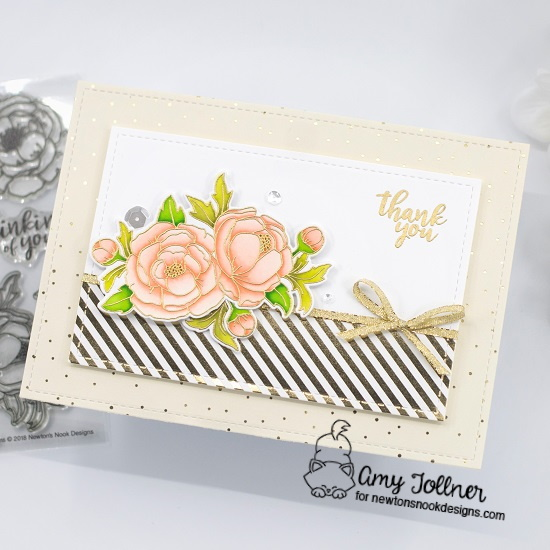 Peony Blooms Stamp and Die Set by Newton's Nook Designs #newtonsnook #handmade
