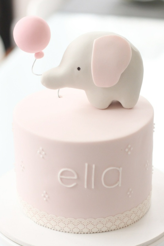 Baby Pink Elephant Cake Topper