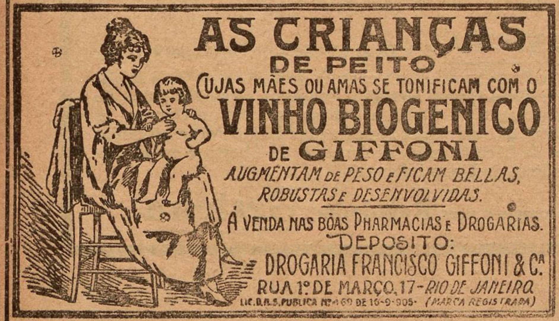 Propaganda antiga do Vinho Biogênico veiculada em 1926