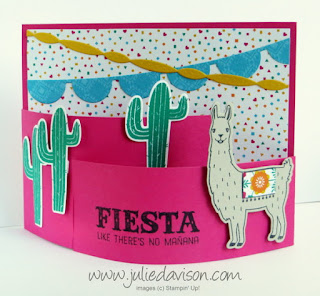 VIDEO Tutorial: How to Make a Bendy Card with Stampin' Up! Birthday Fiesta bundle www.juliedavison.com