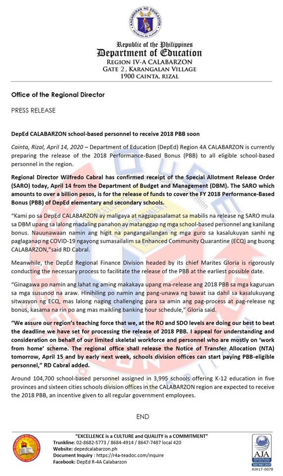 DepEd CALABARZON personnel to receive PBB 2018 soon