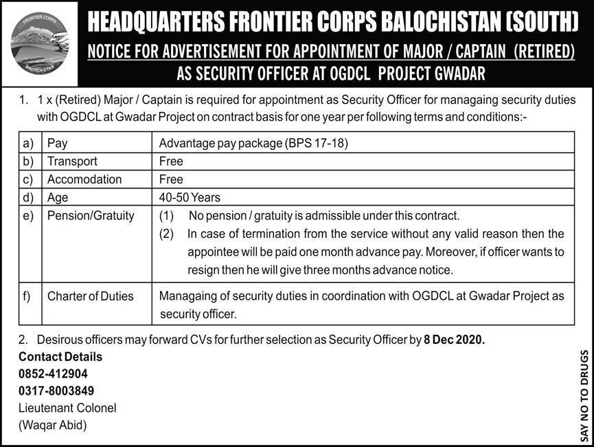 Pak Army Jobs 2020 Headquarters Frontier Corps FC Balochistan South Latest December 2020 Govt Jobs in Pakistan