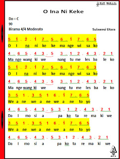 Not Angka Lagu O Ina Ni Keke - Sulawesi Utara