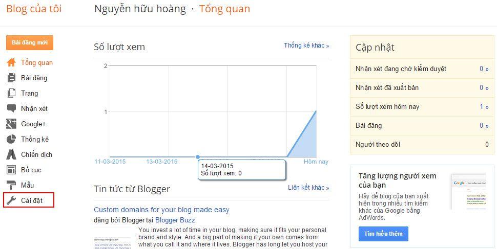 Hướng dẫn cài đặt trỏ tên miền cho Blogger - 1