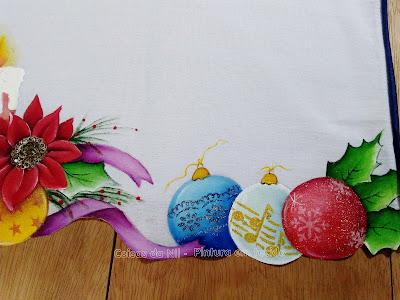 pano de copa com pintura natalina bolas de natal