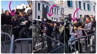 (بالفيديو) شاهد لحظة اعتقال إحدى المتظاهرات و الاعتداء عليها بالعنف...