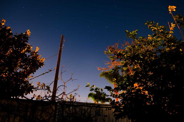 Entre árvores e com um muro, foto noturna com estrelas no céu, em Curitiba
